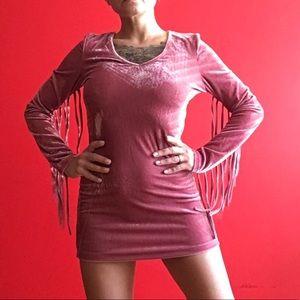 Glamorous Dresses - New with tags Glamorous velvet fringe bodycon XS